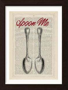 Spoon me - Cuddle me- Snuggle me print on upcycled Vintage Page mixed media digital lovers couples friends Upcycled Vintage, Etsy Vintage, Book And Frame, How To Age Paper, Rare Birds, Dictionary Art, Irish Art, Free Prints, Antique Books