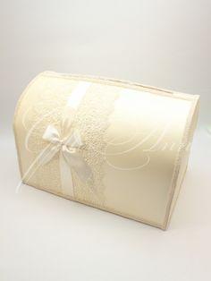 Свадебный сундучок для денег Gilliann Lace Ivory Leaf BOX035 #weddingbox