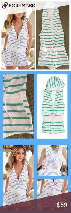 Victoria's Secret Striped Hooded Romper Victoria's Secret Striped Hooded Romper in Green & White with a Plunging Crossover Front, Hood, Sleeveless, Banded Ribbed Waist with Drawstring and Pockets in the Shorts with a Curled Hem in a Cotton Blend with a Fleecy inside - Angel Wings at Shorts Hem Victoria's Secret Other