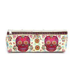 Sugar Skull Floral Pencil Pouch or Make Up Bag