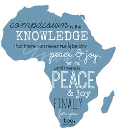 INSTANT DOWNLOAD - Blue Africa / Compassion Quote / Printable Iron on T-Shirt Transfer Design