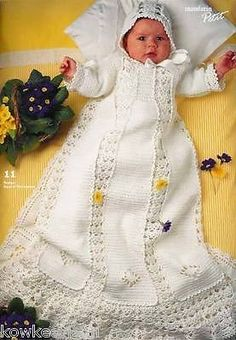 | BABY CHRISTENING GOWN CROCHET KNITTING PATTERNS gorgeous SANDNES gowns ...