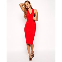 07ffb2ed10 Asos Sexy Double Strap Midi Bodycon Dress Red Midi Dress