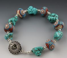 Turquoise Nuggets and Handmade Polymer Clay Beads Bracelet