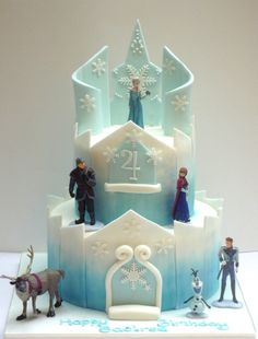 Disney's Frozen Birthday Cakes ideas, images, designs and pictures for children of all ages. How to make your own best frozen birthday cake for your child. Bolo Frozen, Disney Frozen Cake, Disney Frozen Birthday, Disney Cakes, Easy Frozen Cake, Frozen Castle Cake, Frozen Theme Cake, Elsa Castle, Castle Cakes