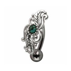 Intricate Leaf Work With Natural Turquoise Stone Reverse Belly Ring