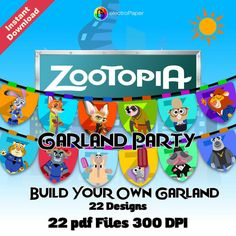 ZOOTOPIA - GARLAND PARTY - 22 pdf files 300 dpi - Decorate your Zootopia Party - Ready for Print and Cut - Instant Download de ElectroPaper en Etsy