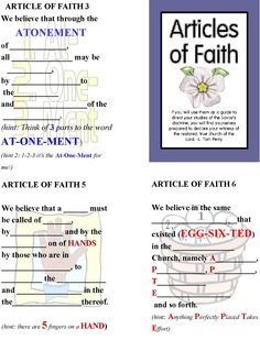 A fun book to help memorize the Articles of Faith page 1