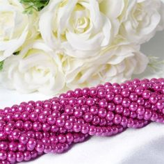 10 Pack of Large Fushia Faux Pearl Beads - ChairCoverFactory Centerpiece Decorations, Wedding Centerpieces, Wedding Favors, Wedding Decorations, Pearl Garland, Beaded Garland, Clear Glass Vases, Decorating Supplies, Fuchsia
