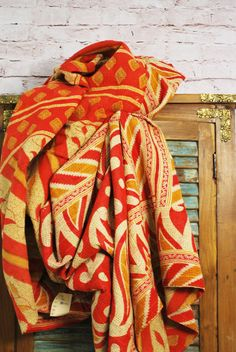 Vintage Kantha Sari Quilt in Red and White with Orange Diamonds
