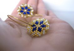 Earrings - Cobalt Shine - Bright Blue, White and Gold - 24k Gold plated sterling silver hoops on Etsy, 380,00 kr