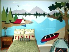 ideas-wall design-color mural art-see-baume-boot – Babyzimmer Tree Mural Kids, Kids Room Murals, Kids Rooms, Nursery Room, Boy Room, Kids Bedroom, Baby Bedroom, Little Boy Beds, Camping Bedroom