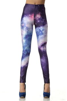 You will look and feel out of this world in these stunning leggings imprinted with a dazzling image of the galaxy. Sleek and comfy fit. 36-38 inches in length. Sizing: S/M or L/XL Size Waist (inches)
