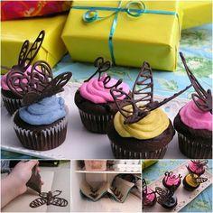idée de décoration de papillons en chocolat sur des cupcakes, chocolat decoration à faire soi meme