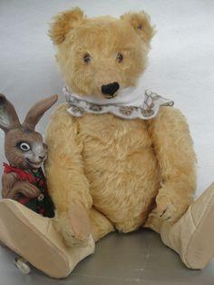 "ANTIQUE STEIFF TEDDY BEAR 20s MOHAIR HUMP w BUTTON LONG F 15.8"" & EASTER RABBIT"