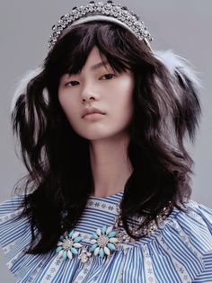 Let's Party: Cong He by Liu Song for Vogue China December 2015 - Miu Miu Fall 2015 blouse and necklace, Dolce&Gabbana Fall 2015 headphone