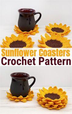 Crochet projects 19281104642859961 - Free crochet coaster patterns,Crochet Sunflower Coasters Source by Crochet Kitchen, Crochet Home, Crochet Gifts, Crochet Ideas, Easy Crochet Projects, Crochet Sunflower, Crochet Flowers, Doilies Crochet, Sunflower Crafts