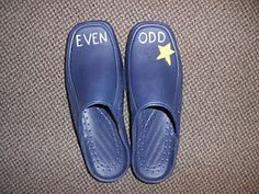 "Even & Odd Shoes- Men size 12  Children can slip them over their shoes.  Call out a number.  Students ""walk"" until they repeat the number the teacher said.  Look at their feet and see if the number is even or odd.  Cute idea for kinesthetic learners."