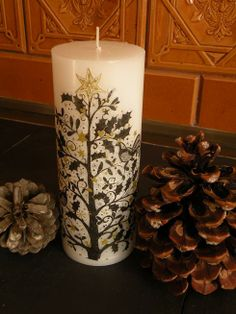 Decoupage chrismas candle