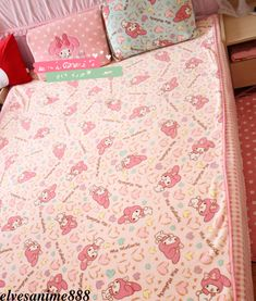My Melody Blanket Bed Sheet Pillowcase Kawaii Bowknot Kitty Flannel Big Cos Gift