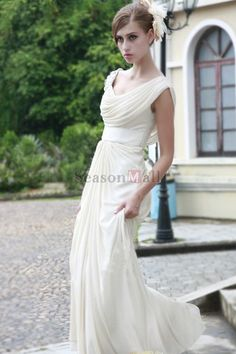 2012 Collection White A Line Scoop Floor Length Evening Dresses Under 200 USD 197.37 PS64EKKM - SeasonMall.com