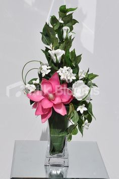 Beautiful White Fresh Touch Rose, Stephanotis and Hot Pink Magnolia Floral Table Arrangement #artificialflowers #interior #design #decor #flowers #arrangement #flowerarrangement