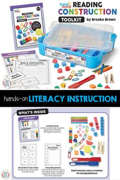 Our NEW Reading Construction Toolkits developed by Brooke Brown provide visual, auditory, and kinesthetic learners with simple applications of key comprehension skills. These kits for grades K-1, 2-3, and 4-5 are perfect for small group guided reading as students build and discuss components of the text as a group. Kinesthetic Learning, Learning Activities, Activity Centers, Literacy Centers, Making Words, Student Teacher, Teaching Strategies, Guided Reading, Comprehension