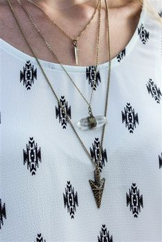 Boho layer necklace.  In store and online at Lauren Nicole!