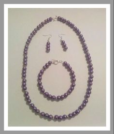 Purple pearl set Purple Jewelry, Pearl Set, Beaded Necklace, Necklaces, Jewelry Sets, Chain, Jewellery, Beaded Collar, Jewels