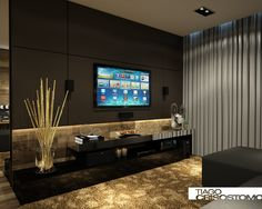 Home Theater Planejado Sala Grande Ideas For 2019 Salas Home Theater, Home Theater Tv, Home Theater Design, Theater Rooms, Living Room Tv, Home Living, Living Walls, Home Theather, Sala Grande