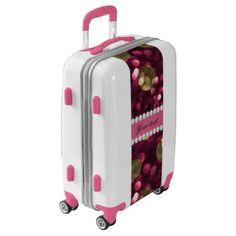 #Hot Pink Gold Bokeh Faux Diamonds Personalized Luggage - #custom #luggage #suitcase #suitcases #bags #trunk #trunks