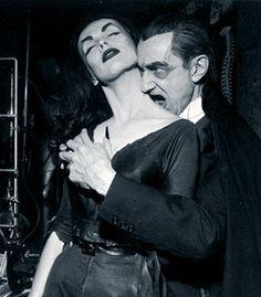 vampira   Vampira with Bela Lugosi on THE RED SKELTON SHOW in 1956