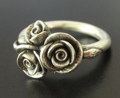 Three Tiny Rosebuds - Handsculpted, Asymmetrical Rosebuds, Cast in Sterling Silver - Ready to Ship -  SMALL SIZE (Sizes 5.25 to 6). $175.00, via Etsy.