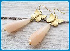 Pink jade earrings, butterfly earrings, drop earrings, gemstone earrings, summer earrings, romantic jewelry - Wedding earings (*Amazon Partner-Link)