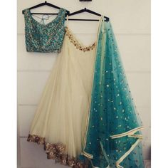 Beautiful cream soft net embroidered ceremonial lehenga choli - Fabric :Soft net lehnga with coding & sequence border work( 3 meter flair )Heavy Satin Banglori blouse with Codding work ( unstich )Net duppata cream soft net embroidered cere Blouse Lehenga, Half Saree Lehenga, Lehnga Dress, Indian Lehenga, Anarkali, Simple Lehenga Choli, Half Saree Designs, Choli Designs, Lehenga Designs