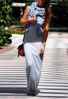 Maxi dress, jean vest, scarf