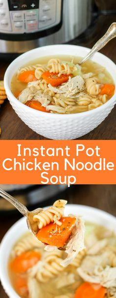 Instant Pot Chicken Noodle soup is rich with flavor and takes only a fraction of the time to make. Warm up on a cold day with this major comfort food.