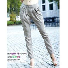 Women Korea Lattice Thin Slim Two Wear Casual As Picture Pants... ($17) via Polyvore