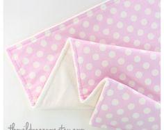 Pale Pink & Ivory Polka Dots Stroller Blanket, Polka dot and Minky, Toddler Baby Blanket in Designer Riley Blake Fabric - Made to order