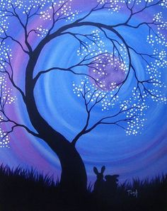 Diy canvas art 488640628319843030 - Night Blossoms by katTink on DeviantArt Source by Night Sky Painting, Sunrise Painting, Moon Painting, Canvas Painting Tutorials, Easy Canvas Painting, Simple Oil Painting, Acrylic Canvas, Painting Lessons, Diy Canvas