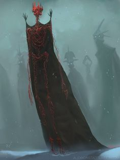 "'In the Court of the Hollow King' ~by Alex Konstad (on ArtStation) - ""The hatred and malevolence ensconced within that crown holds court with those whom find themselves lost"""