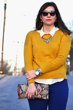 cobalt pants paired with mustard