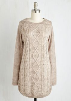 Fireside by Side Sweater in Ecru. Snuggle in close with your sweetie with your smiles glowing in the firelight and your style looking serene in this tan sweater. #cream #modcloth