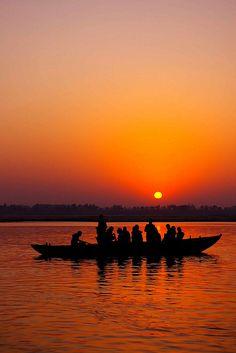 Varanasi  Fishing at sunrise, #Varanasi City, India