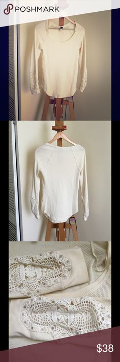 🌈Free People thermal with lace size L🌈 Thermal with beautiful lace details at sleeves. Size L. Preloved in great condition. Free People. Free People Tops Tees - Long Sleeve