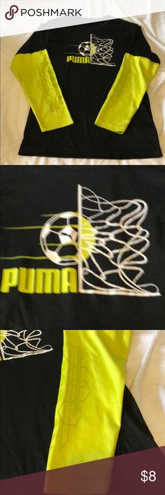 """Boys Puma M silky long sleeve T-shirt This is another one of my sons favorites. Super silky, comfy and """"cool"""" 😉 this is in GUC only real wear is on tag which has been washed off the inside of the neck and on a logo on the bottom of the back of shirt (last pic) Puma Shirts & Tops Tees - Long Sleeve"""