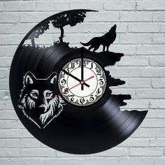 Wolf TIGER Animal Vintage Retro Men BLACK Vinyl Record Wall Clock Art Design