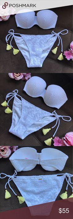 Nwt Victorias Secret Blue Tie Dye Smocked Trim Swim Bikini Bottom