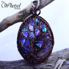 Glow in the dark tree of life orgonite pendant - mother of pearl - handmade wire wrap