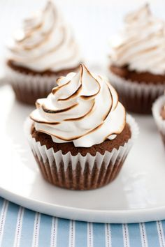 Brownie Cupcakes with Marshmallow Frosting. from Cooking Classy.  my life may now be complete!
